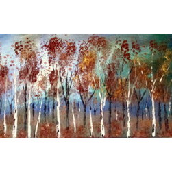 Fall Copper  Birch Trees 36' (Original) by Jean Vadal Smith Bentson - Night falls on an autumn day.  Birch trees stand tall in the woods . Magic colors of deep blues, purple, green , greys, rust, raw sienna with tree foliage in rust, copper and gold .