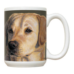 230-Yellow Lab Mug - 15 oz. Ceramic Mug. Dishwasher and microwave safe It has a large handle that's easy to hold.  Makes a great gift!