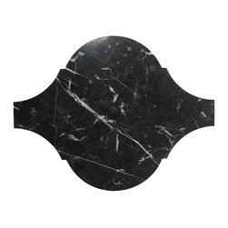 Sample-Beacon Nero Marquina MarbleTile Sample - Sample-Beacon Nero Marquina Marble Tile Sample   Samples are intended for color comparison purposes, not installation purposes.    -Glass Tiles -