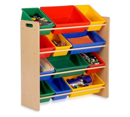 Honey Can Do - Honey Can Do Kids Storage Organizer - 12 Bins - Natural Multicolor - SRT-01602 - Shop for Childrens Toy Boxes and Storage from Hayneedle.com! With the Honey Can Do Kids Storage Organizer - 12 Bins - Natural in place parents will love how much easier it is for kids to keep their room clean and kids will love how much easier it is to find that particular figurine at just the right moment. Supported by a natural wood 4-shelf unit this organizer includes twelve plastic bins in red yellow blue and green. The bins come in two sizes so it's easy to find the perfect for storing anything from matchbox cars to coloring books. Kids can remove the bins so they're nearby on the floor while they play. This also makes the whole unit easier to clean.Additional featuresLarge bins: 16.25L x 11.75W x 5H inchesMedium bin: 7.75L x 11.75W x 5H inchesSome assembly is requiredAbout Honey-Can-DoHeadquartered in Chicago Honey-Can-Do is dedicated to helping you organize your life. They understand that you need storage solutions that are stylish and affordable at the same time. Honey-Can-Do focuses on current design trends and colors to create products that fit your decor tastes while simultaneously concentrating on exceptional quality. When buying a Honey-Can-Do product you can be sure you are purchasing a piece that has met safety control standards and social compliance methods.