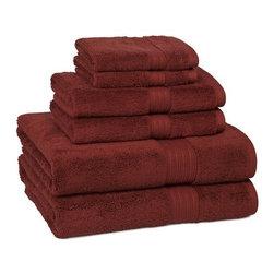 Kassatex - 100% Egyptian Cotton Bath Towels | Garnet, Set of 6 - 100% Egyptian Cotton Bath Towels- Garnet