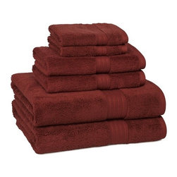 Kassatex - 100% Egyptian Cotton Bath Towels | Garnet, Set of 6 - 100% Egyptian Cotton Bath Towels- Garnet