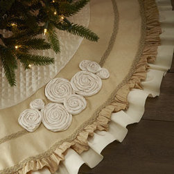 "Horchow - Ivory Christmas Tree Skirt with Ruffles - Exclusively ours. A traditional Christmas tree skirt features ruffled edges finished with decorative trim and rosettes. Cotton/rayon. Dry clean. 60""Dia. Made in the USA."