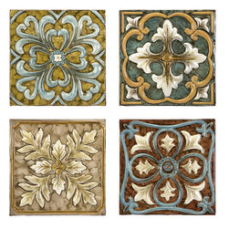 None - Set 4 Old Spanish Mission Rosette Design Wall Tiles - These beautiful wall tiles are handcrafted in China by artisans who help keep tradition alive through their work. This set of four tiles combine to form a cohesive piece of art that can highlight any home or office.