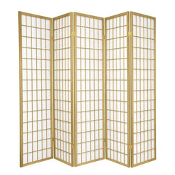 Oriental Furniture - 6 ft. Tall Window Pane - Special Edition, Gold, 5 Panel - The popular Window Pane Shoji Screen is now available in a special edition run of beautiful new colors! The fiber-reinforced Shoji rice paper offers privacy while allowing diffused light to filter through, and the Scandinavian spruce frame is both durable and lightweight. This special edition won't last forever, so pick your favorite color today while supplies last!