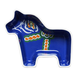 Blå Dala Bowl - Molded into the form of a horse and hand-painted with folk patterns in the interior, the Blå Dala Bowl makes the simple act of serving candy, appetizers, and other finger foods a pleasure.
