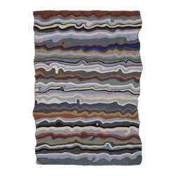 """Loloi Rugs - Loloi Rugs Jubilee Collection - Pewter, 5' x 7'-6"""" - The dynamic Jubilee Collection is constructed in India of hand sewn felted New Zealand wool with fun, abstract patterns and a shaped border. Colorful and lively, Jubilee makes a bold statement for today's contemporary customer."""