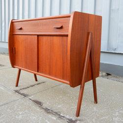 Mid Century Mobler: Past Collections - Danish modern mid century v-legged cabinet in teak.