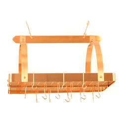Satin Copper Pot Rack with Grid and 24 Hooks