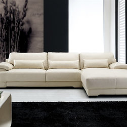 Morano Contemporary Leather Sofa Chaise Sectional - $1699.99 - This two pieced modern sectional features an extra wide chaise lounge and an Italian leather finish.  Available in 11 colors.