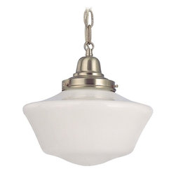 Design Classics Lighting - 10-Inch Retro Satin Nickel Schoolhouse Mini-Pendant Light - FB4-09 / GA10 / B-09 - Satin nickel finish mini-pendant light with Powellhurst schoolhouse opal white glass. Takes (1) 150-watt incandescent A21 bulb(s). Bulb(s) sold separately. UL listed. Dry location rated.