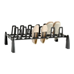 "Organize It All - Silver and Black 9 Pair Shoe Rack, 9.5"" - Our shoe rack holds 9 pairs of shoes. It sits low to the floor. Great for the closet or garage."