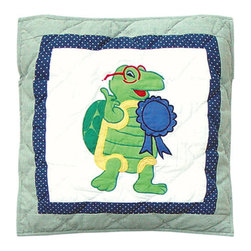 Patch Quilts - Green Scene Toss Pillow 16 x 16 Inch - Decorative applique Quilted Pillow Bed and Home Ensembles and Bedding items from Patch Magic   - Machine washable  - Line or Flat dry only Patch Quilts - TPGRSC