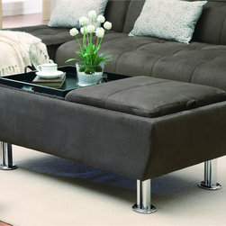 Coaster - Brown Microfiber Storage Ottoman with Serving Trays - Incorporate convenient, contemporary style into your home decor with this versatile storage ottoman. Finished in a soft brown microfiber, this chrome-legged ottoman features top cushions that can be flipped to reveal large serving trays.