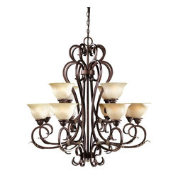 World Imports - Olympus Tradition 12-Light Chandelier, Crackled Bronze - Crackled bronze with silver finish