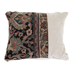 "Kathy Kuo Home - Montclair French Country Brocade Pattern Rustic Lumbar Pillow - Square - Nothing says ""home"" more than a soft, inviting pillow. This French Country brocade pattern is neutral enough for any color palette with a pop of floral patterning in muted earth tones. Feathers and down provide plush lumbar support and cozy comfort. The square embroidered linen pillowcase is removable for easy washing."