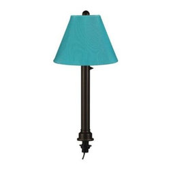 Patio Living Concepts - Patio Living Concepts Outdoor Lighting. Catalina Black Umbrella Table Outdoor La - Shop for Lighting & Fans at The Home Depot. Carefree resin durability, while adding elegance to any outdoor living area. All lamps feature all resin construction with heavy weighted bases. Lamps are completely weatherproof and have a two level dimming switch. Choose from 24 decorator Sunbrella shade fabrics. Features: -Outdoor floor lamp -San Juan Collection -Available in white, bronze, or bisque body finishes -Choose from 24 Sunbrella shade fabrics -Antique beige linen -Silver linen -Canvas linen -Bessemer -Forest green -Soleil -Lacquer -Chili linen -Natural linen -Basil linen -Straw linen -Jockey red -Sky blue -Burgundy canvas -Palm -Melon canvas -Ebony -Teak -Brass -Spa -Buttercup -Aruba -Spring -Stardust linen -Waterproof resin construction -12 ft. weatherproof cord and plug -Two level dimming switch -Heavy weighted base -Uses (1) 100 watt max medium base bulb (not included) -One year manufacturer warranty -Shade dimensions: 7.5 in. H x 20 in. D -Overall dimensions: 60 in. H x 20 in. D