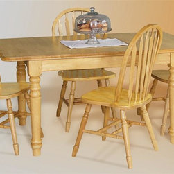"""Sunset Trading - 5-Pc Eco-Friendly Traditional Dining Set - Includes one extension table and four Windsor style arrow back chairs. Traditional classic beauty and style, yet always dependably functional. Sturdy quality craftsmanship. Table:. Classic and timeless and and with the memories made. Self storing butterfly leaf. Solid handcrafted hardwood. One self storing 12 in. leaf converts table from 36 in. x 48 in. to 36 in. x 60 in.. Chair:. Curved, comfort back and scooped seat. Perfectly carved and steel reinforced turned legs. Large backrest and seating area to provide ideal seating solution. Warranty: One year. Made from Malaysian oak. Light oak finish. Made in Malaysia. Table assembly required. Chair: 20 in. W x 19.5 in. D x 38 in. H (16 lbs.). Table:. Minimum: 48 in. L x 36 in. W x 30 in. H. Maximum: 60 in. L x 36 in. W x 30 in. H. Weight: 98.16 lbs.Welcome guests into your home with a touch of country comfort with this classic American piece from the Sunset Trading - Sunset Selections Collection. Whether it's casual """"coffee and conversation"""", everyday dining, holidays or special occasions, memories are guaranteed to be made when family and friends gather around this versatile dining table. Warm and inviting, the classic beauty and craftsmanship of this dining tables makes it equally appropriate for your kitchen or dining room fulfilling all your formal and informal dining needs. Pair this table with your choice of Sunset Selections arm and side chairs to appropriately complete your informal or formal dining space. , this relaxed dining piece will bring warmth and comfort to your home for years to come! Complete your dining decor with the country charm of timeless casual dining chairs from the Sunset Trading - Sunset Selections Collection. Offering , your family and friends will enjoy the seating comfort of these inviting relaxed dining chairs for years to come!"""