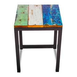 EcoChic Lifestyles - Reclaimed Wood Perch Stool - A seat stripped down to its essence, the Galley Cat Stool is ideal for a restaurant or patio where space is at a premium. The piece showcases colorful teak wood from retired fishing boats, and the dark iron legs are reclaimed from bridge supports. Elegant utility never looked so good!