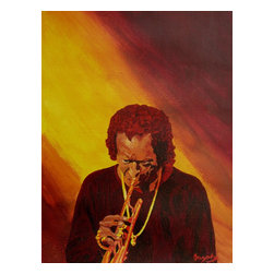 Miles Davis, Original, Painting - Pour yourself a drink, sit back in your favorite lounge chair and listen to the legendary Miles Davis as you admire this acrylic-on-canvas portrait on your wall. Artist Anthony Dunphy's rich background of oranges yellow and crimson evoke the brilliance of a dusky evening while framing the jazz icon at his best.