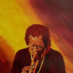 Miles Davis Artwork - Pour yourself a drink, sit back in your favorite lounge chair and listen to the legendary Miles Davis as you admire this acrylic-on-canvas portrait on your wall. Artist Anthony Dunphy's rich background of oranges yellow and crimson evoke the brilliance of a dusky evening while framing the jazz icon at his best.