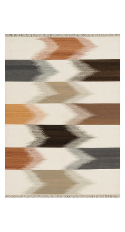 """Loloi Rugs - Loloi Rugs Santana Collection - Natural, 7'-6"""" x 9'-6"""" - The new Santana Collection takes a modern look at traditional kilims, employing the ancient flat weave construction, but with edgy new patterns for today. Choose from eight all-wool designs that have transitional and modern appeal. Made in India andfinished with fringed ends, Santana's color application recalls today's popular Ikat designs"""