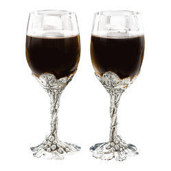 Arthur Court - Grape Wine Glass Set/2 - This set of two wineglasses ensures you never have to wine alone. The stems are cast of aluminum with a grape leaf motif — a perfect pair for toasting at your wine country wedding. Or, use at home for your next wine tasting party.
