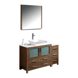 """Fresca - 48"""" Walnut Brown Vanity w/ Side Cabinet & Vessel S Soana Brushed Nickel Faucet - Fresca is pleased to usher in a new age of customization with the introduction of its Torino line.  The frosted glass panels of the doors balance out the sleek and modern lines of Torino, making it fit perfectly in eithertown or country decor."""