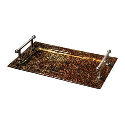 Elektra Copper Glass Tray - *Beautiful Copper Colored Glass Tray With Brushed Aluminum Handles