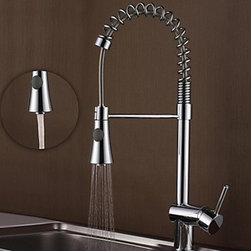 Kitchen Sink Faucets - Contemporary Chrome Brass One Hole Single Handle Spring Kitchen Faucet--FaucetSuperDeal.com