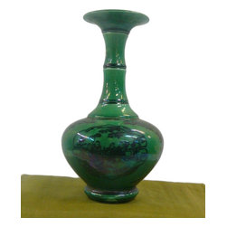 "Golden Lotus - Chinese Green Base Black Scenery Ceramic Porcelain Vase - Dimensions:   Dia 5"" x h9.5"""