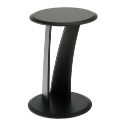 Eurostyle - Mushroom Table, Black - Is it leaning or straight? This eye-catching side table features a streamlined aesthetic for your living room. The center support posts create further visual interest, serving as an intriguing offset to the circular surface and base.