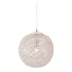 ZUO PURE - Opulence Ceiling Lamp Aluminum - Like being in a cocoon of aluminum, the Opulence lamp's aluminum mesh shade envelopes the bulb creating a warm halo of light. The shade is aluminum and the base has a chrome finish. It is UL approved. The height is fully adjustable.