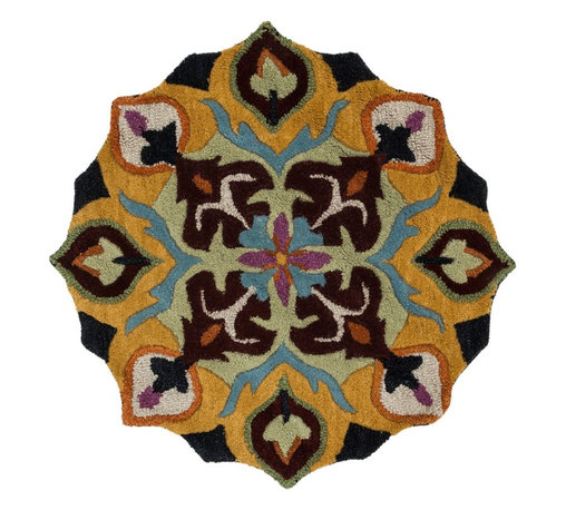 """Loloi Rugs - Loloi Rugs Azalea Collection - Black/Gold, 3'-0"""" x 3'-0"""" Round - The Azalea Collection celebrates desirable round rugs in the most updated colors and patterns for today's fashionable interiors. Available in a broad range of styles, Azalea has a distinctive look that is achieved by its meticulously hand-tufted, wool construction. Made in India, the cut-and-loop textured rounds come in a varied palette that includes spring and fall hues, brights and everyday, familiar tones, too. These fresh rounds will add a dramatic wow-factor to any interior."""