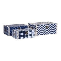 """IMAX - Essentials Storage Boxes - Navy - With the bright color and bold patterns which define the Marine Blue collection from Essentials by Connie Post, these decorative boxes are a brilliant storage solution to declutter your room. Item Dimensions: (5-6.25-7.25""""h x 13.75-15.75-17.75""""w x 8.25-10.25-12.25"""")"""