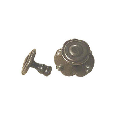 """Millennium Hardware - French Iron Cabinet Knob with backplate 1 1/4"""" - Our French patinated iron knob with backplate portrays the beauty and elegance of traditional European style. These iron pieces have been chemically aged and rusted, than tumbled, waxed and rubbed to achieve an authentic antique patina. Each knob will vary slightly giving them a unique individual charm."""