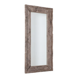 Studio A - Deer Valley Floor Mirror - Gray - The rustic patina of century-old, creosote-free Indian railroad ties is transformed into impressive mirrors. Hangs vertical or horizontal with metal wall cleats provided.