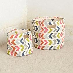 "Pehr - Chevron-Pop Canvas Basket - By PehrCotton canvasSpot cleanSmall: 10""H, 9"" diameterMedium: 13""H, 12"" diameterImported"