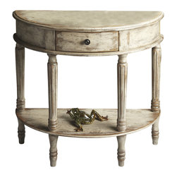 Butler Furniture - Demilune Console Table - Unique textured hand painted design on selected hardwoods and wood products. Felt lined drawer with antique brass finished drawer pull.