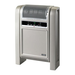 Lasko - Cyclonic Ceramic Heater in Platinum - Space saving design. Easy-to-use electronic controls. Adjustable thermostat. 7-hours timer. Low, high quiet-comfort and thermostat-controlled setting. Self-regulating ceramic element and overheat protection for safety. Louver on the top front grill allows for vertical adjustment of air flow. Slide the louver control up or down to adjust the air flow as desired. ETL listed. Total wattage: 1500 W. Warranty: Three years limited. 18 in. W x 4.8 in. D x 26 in. HEffectively heat any room in the home with this intelligently engineered cyclonic ceramic heater. The unit blends beautifully into modern home decor with zero tolerance space-saving design, which can be placed at the wall.