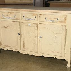 British Traditions - 5 Ft. Wide French Kitchen Island w 3 Drawers & 3 Cabinets (Antique Blue) - Finish: Antique Blue. Each finish is hand painted and actual finish color may differ from those show for this product. French kitchen island. 2 Large drawers, 1 small drawer. 2 Large cabinets, 1 small cabinet. Minimal assembly required. Cabinet size. Left and right: 17.5 in. W x 22 in. D x 20 in. H. Center: 11.5 in. W x 22 in. D x 20 in. H. 7.5 in. Up off ground. 60 in. W x 30 in. D x 36 in. H (309 lbs.)The Gascony Kitchen Island has French curves on the doors, bottom moldings and feet.