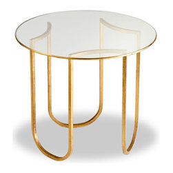 Kathy Kuo Home - Vincent Gold Leaf Round Glass Contemporary Side Table - Gorgeous and glamorous, yet never too flashy or loud, this end table is so beautiful it's almost like a piece of jewelry, but for a room.  Generous curves of gold-leaved curved metal support a round glass tabletop, detailed with a seductive edge of gold leaf.  Art Nouveau, Art Deco, Hollywood Regency and Modern spaces will all receive a serious style upgrade from this simple, perfect table.