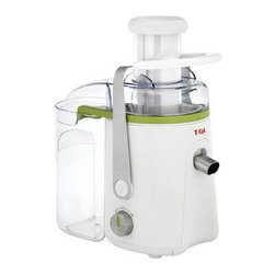T-Fal/Wearever - T-Fal Balanced Living Juice Extractor - The T-Fal Balanced Living Juice Extractor guarantees a quick and easy way to make healthy fruit and vegetable juices in just a matter of seconds with two speeds and a whole fruit feeding tube. The juicer features an anti-drip spout, Stainless Steel filter and 1.25 liter pitcher, which are all dishwasher safe, for fast and easy clean up. With a 3 liter integrated pulp container and variable speeds, you can make any kind of juice, just the way you like it! The juicer features a metal locking arm for added safety. 550 watt