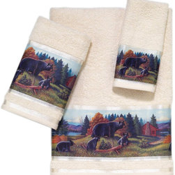 Avanti Linens - Black Bear Lodge 3 Piece Cotton Towel Set by Avanti Linens - Transform your bathroom with these Avanti bath towels. The black bear motif creates a beautifully rustic look worthy of a log cabin. Bring character to your decor with these Lodge terry towels. The towels are in beige.