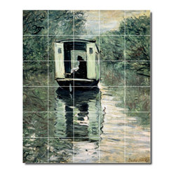 Picture-Tiles, LLC - The Studio Boat2 Tile Mural By Claude Monet - * MURAL SIZE: 36x30 inch tile mural using (30) 6x6 ceramic tiles-satin finish.