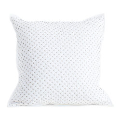 Auggie Home Collection - Cross Stitch Pillow Cover, Gray - Each of our decorative pillow covers coordinates with a matching quilt and mixes in with our bedding collections.