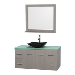 "Wyndham Collection - Centra 48"" Grey Oak Single Vanity, Green Glass Top, Arista Black Granite Sink - Simplicity and elegance combine in the perfect lines of the Centra vanity by the Wyndham Collection. If cutting-edge contemporary design is your style then the Centra vanity is for you - modern, chic and built to last a lifetime. Available with green glass, pure white man-made stone, ivory marble or white carrera marble counters, with stunning vessel or undermount sink(s) and matching mirror(s). Featuring soft close door hinges, drawer glides, and meticulously finished with brushed chrome hardware. The attention to detail on this beautiful vanity is second to none."
