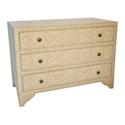 Kathy Kuo Home - Arlane French Country Wood Burlap Rivet Dresser - * 30 inches high x 42.5 inches wide x 20 inches deep