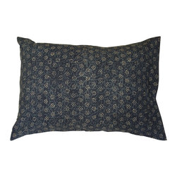 Alamwar - Daisy Dabu Indigo Pillow, 20x28 - Dabu is a mud-resist hand-block printing practiced in Rajasthan of India. Dabu printing uses natural dyes and vegetable pastes. It is environmentally non-toxic and uses no harmful or synthetic dyes.