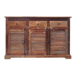 "YOSEMITE HOME DECOR - Sideboard - This shutter door cabinet adds a relaxing and refreshing atmosphere to your home. The three shuttered styled doors bring home the feeling of a day at the beach or of a quiet  country afternoon. The solid mango inner shelf and the three drawers allow for ample storage. Faux double latch aged black metal    hardware complete the look. Assembled, Made in India.  Overall Item Dimension is 56""Wx16""Dx36""H"